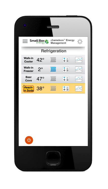 chameleon™ Mobile phone app screenshot of refrigeration controls